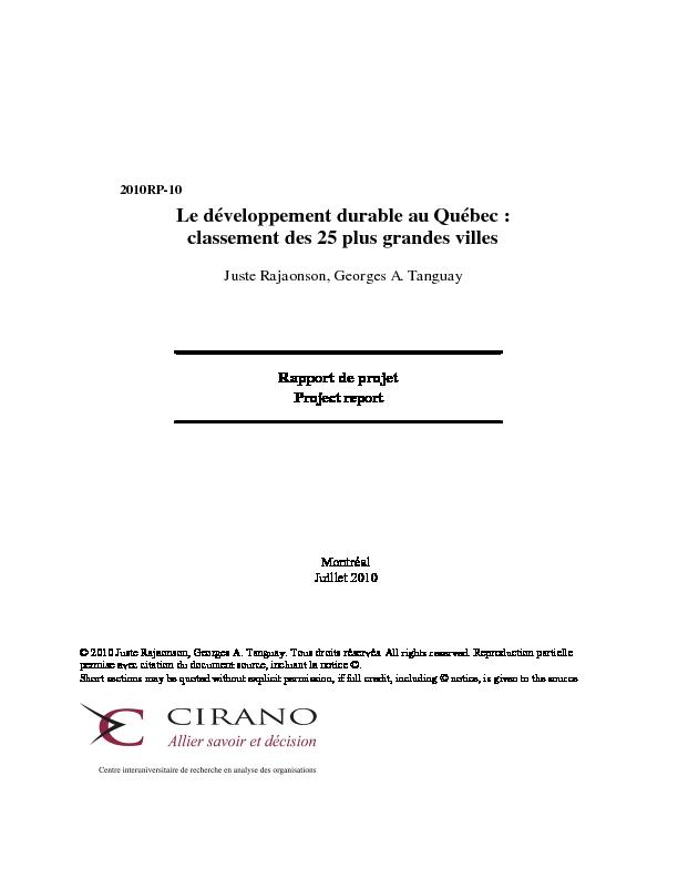 Cirano Sommaire Le Développement Durable Au Québec